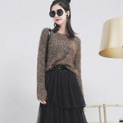 Sonne - 毛绒长袖针织毛衣