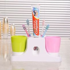 Yulu - Set: Wall Suction Automatic Toothpaste Dispenser + Toothbrush Cup