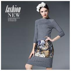 歐依潮派 - 羊毛混紡印花拼接針織連衣裙