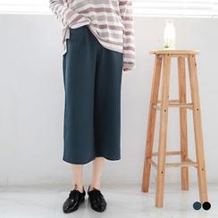 OrangeBear - 素色设计口袋后腰围松紧九分宽裤