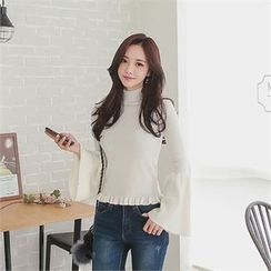 Babi n Pumkin - Mock-Neck Bell-Sleeve Knit Top