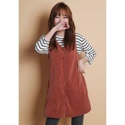GOROKE - Sleeveless Button-Down Mini Dress