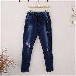 Maymaylu Dreams - 牛仔裤。破洞小脚单宁长裤