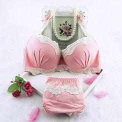 Remedios - Set: Lace Trim Bra + Panties