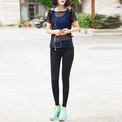 YANBOO - Yoga Set: Sports Bra + Short Sleeve Sheer Top + Pants