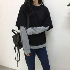 November Rain - Color Block Mock Two Piece Sweatshirt