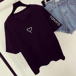 Honeydew - Embroidered Short-Sleeve T-Shirt
