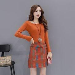 Romantica - 套裝: 長袖針織上衣 + 印花A字短裙