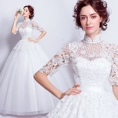 Angel Bridal - 蕾丝花朵中袖公主婚纱