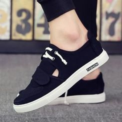 Chariot - Lace-Up Velcro Canvas Sneakers