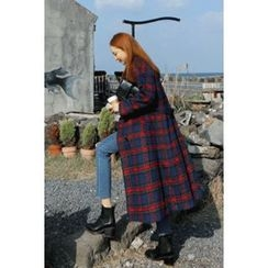 migunstyle - Double-Breasted Checked Coat With Sash