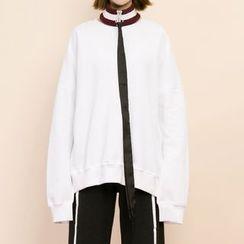 Heynew - Drop Shoulder Sweatshirt with Choker