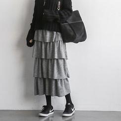 NANING9 - Elastic-Waist Tiered Midi Skirt