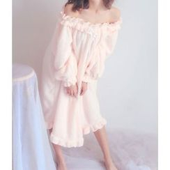 GOGO Girl - Long-Sleeve Ruffle Trim Pajama Dress