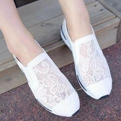 REDOPIN - Lace-Trim Slip-Ons
