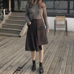 ALIN STYLE - Asymmetric Hem Midi Skirt
