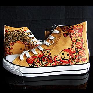 """HVBAO - """"Halloween Pumpkins"""" High-Top Canvas Sneakers"""