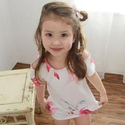 Lemony dudu - Kids Cut-out Shoulder Floral Print Dress