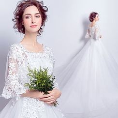 Angel Bridal - Elbow-Sleeve Long Train Wedding Dress