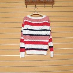TWILOS - Striped Open-Knit Top