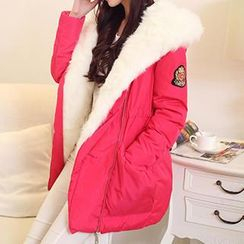Emeline - Faux Fur Trim Hooded Drawstring Waist Parka