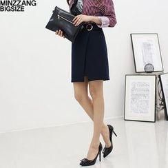 Seoul Fashion - Buckle-Trim Pencil Skirt