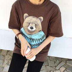Mayflower - Bear Print Elbow Sleeve T-Shirt