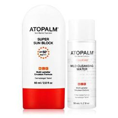 ATOPALM - Set: Super Sun Block SPF 50+ PA+++ 60ml + Mild Cleansing Water 50ml