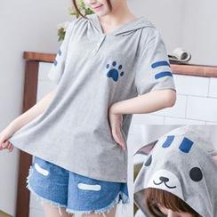白金天使 - 長 / 短袖貓連帽T恤