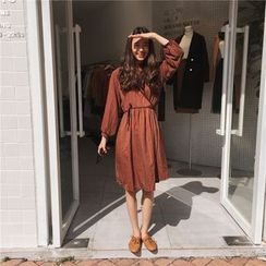 ALIN STYLE - Check Long Sleeve Mock Neck Chiffon Dress