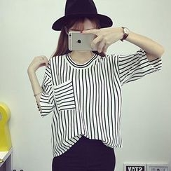 Fashion Street - Elbow-Sleeve Striped T-Shirt