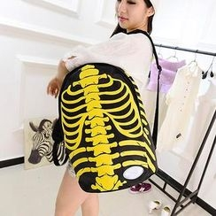 Miss Sweety - Skeleton-Print Faux-Leather Backpack