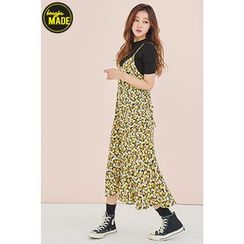 BONGJA SHOP - Floral Patterned Sleeveless Ruffle-Hem Dress