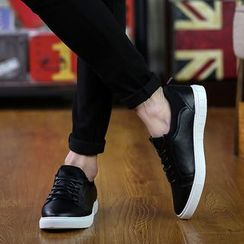 Hipsteria - Faux-Leather Lace-Up Sneakers