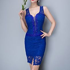 Posh Bride - Rhinestone Sleeveless Lace Bodycon Dress
