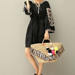 trendedge - Embroidered Tie Neck 3/4 Bell Sleeve Dress