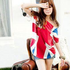 RINA - Dolman-Sleeve Union Jack T-Shirt