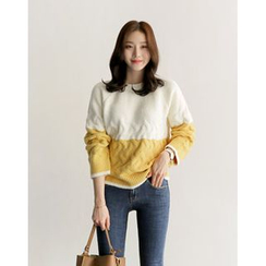 UPTOWNHOLIC - Color-Block Cable-Knit Top