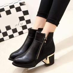 Amy Shoes - Side-Zip Heeled Short Boots