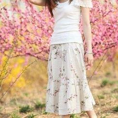 Floral Elegance - Floral Print Linen Maxi Skirt