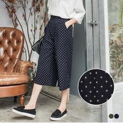 OrangeBear - Star Print Flannel Culottes