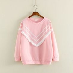 Mushi - Fringed Chevron Sweatshirt