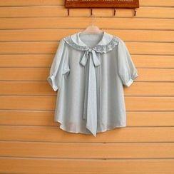 TWILOS - Short-Sleeve Paneled Blouse