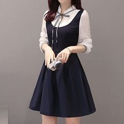 Lavogo - Mock Two Piece Bow Accent Frill Trim Long Sleeve Dress