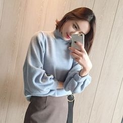 WITH IPUN - Mock-Neck Puff-Sleeve Knit Top