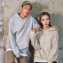 Superstar.i - Couple Hooded Layered-Hem Pullover