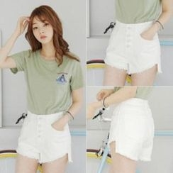 Amella - Fray-Hem Button-Accent Denim Shorts