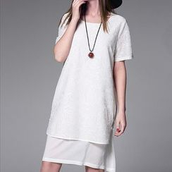 Mythmax - Short-Sleeve Jacquard Dress