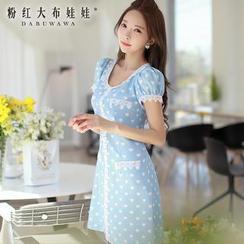 Dabuwawa - Short-Sleeve Heart-Print Dress