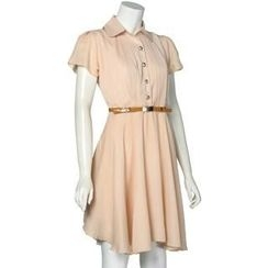 Eloqueen - Short-Sleeve Pleated Chiffon Shirt Dress